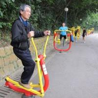 マカオ 公園の運動器具で遊ぶ